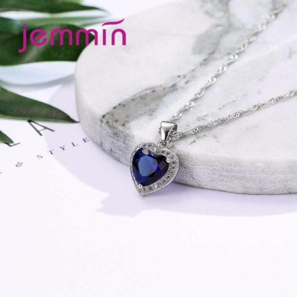 Hot Sale Heart Shape Bule Crystal 925 Sterling Silver Necklace And Earrings Set For Women Female 3 Hot Sale Heart Shape Bule Crystal 925 Sterling Silver Necklace And Earrings Set For Women Female Party Engagement