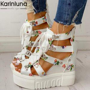 INS Hot Print Leisure Wedges women s Shoes 2019 Summer Shoes women Sandals Platform Shoelaces High Innrech Market.com