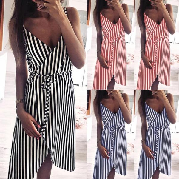 KANCOOLD dress Women Stripe Printing Sleeveless Off Shoulder Dress Evening Party Vest Empire Sashes dress women 5 KANCOOLD dress Women Stripe Printing Sleeveless Off Shoulder Dress Evening Party Vest Empire Sashes dress women 2018AUG1