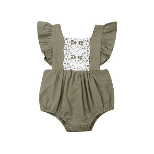 Kids Baby Girl Solid Summer Clothes Lace Romper Backless Button Jumpsuit Outfits Baby Clothing 2 Kids Baby Girl Solid  Summer Clothes Lace Romper Backless Button Jumpsuit Outfits Baby Clothing