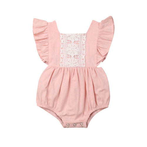 Kids Baby Girl Solid Summer Clothes Lace Romper Backless Button Jumpsuit Outfits Baby Clothing 3 Kids Baby Girl Solid  Summer Clothes Lace Romper Backless Button Jumpsuit Outfits Baby Clothing