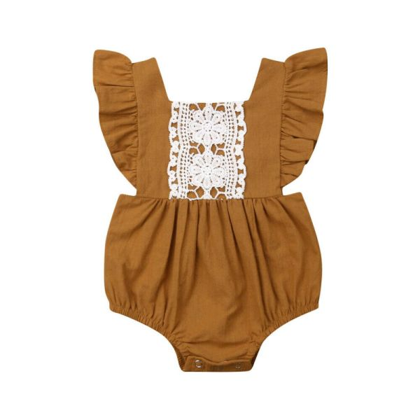 Kids Baby Girl Solid Summer Clothes Lace Romper Backless Button Jumpsuit Outfits Baby Clothing 4 Kids Baby Girl Solid  Summer Clothes Lace Romper Backless Button Jumpsuit Outfits Baby Clothing