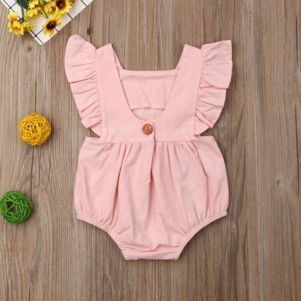 Kids Baby Girl Solid Summer Clothes Lace Romper Backless Button Jumpsuit Outfits Baby Clothing 5 Kids Baby Girl Solid  Summer Clothes Lace Romper Backless Button Jumpsuit Outfits Baby Clothing