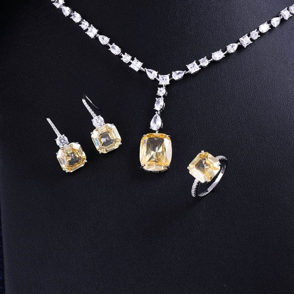 Luxury brilliant Yellow and Clear zirconia waterdrop and cirrus fashion style wedding bridal earring necklace jewelry 1 Luxury brilliant Yellow and Clear zirconia waterdrop and cirrus fashion style wedding bridal earring necklace jewelry sets