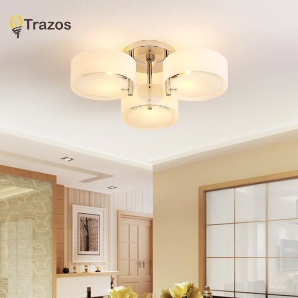 NEW 2019 Modern Ceiling Lights modern fashionable design dining room lamp pendente de teto de cristal 5 NEW 2019 Modern Ceiling Lights modern fashionable design dining room lamp pendente de teto de cristal white shade acrylic lustre