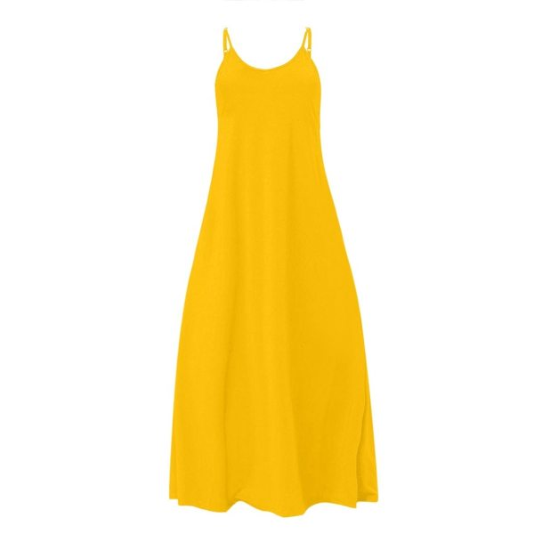Plus Size Dress Women Summer Solid Maxi Dresses Sexy Spaghetti Straps Sleeveless Loose Long Dress With 4 Plus Size Dress Women Summer Solid Maxi Dresses Sexy Spaghetti Straps Sleeveless Loose Long Dress With Pockets Casual Vestidos