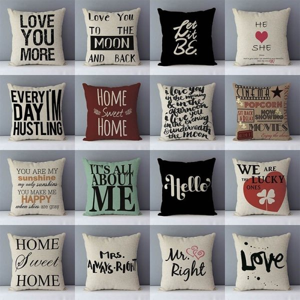 """Popular phrase words letters printed couch cushion home decorative pillows 45x45cm cotton linen square cushions Love Popular phrase words letters printed couch cushion home decorative pillows 45x45cm cotton linen square cushions """"Love you more"""""""