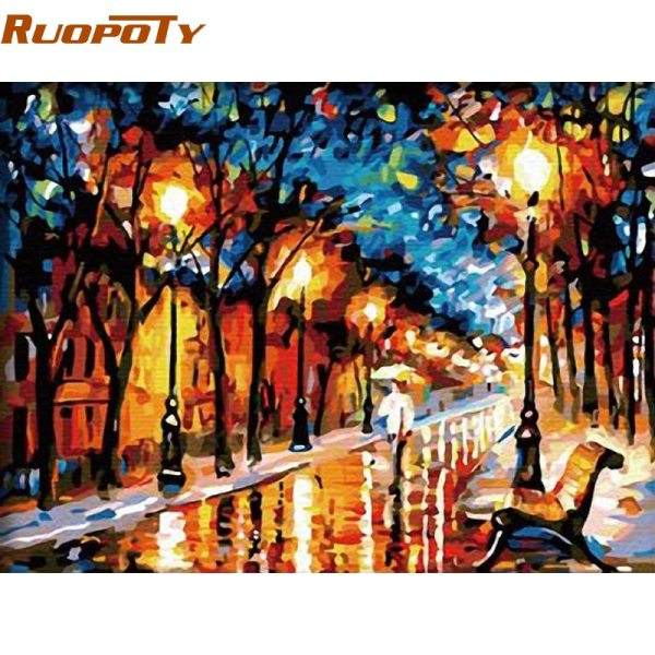 RUOPOTY Walking Rain DIY Painting By Numbers Abstract Modern Handpainted Oil Painting On Canvas Home Wall RUOPOTY Walking Rain DIY Painting By Numbers Abstract Modern Handpainted Oil Painting On Canvas Home Wall Decor For Living Room