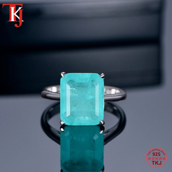 TKJ Real 925 Silver Ring Square Ruby and Emerald Ring Wedding Engagement Rings For Women Fine 4 TKJ Real 925 Silver Ring Square Ruby and Emerald Ring Wedding Engagement Rings For Women Fine Jewelry Accessories Gifts