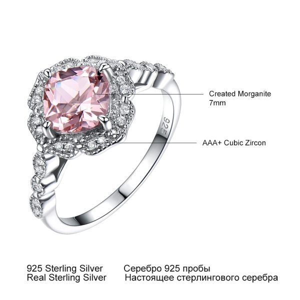 UMCHO Solid Sterling Silver Cushion Morganite Rings for Women Engagement Anniversary Band Pink Gemstone Valentine s 3 UMCHO Solid Sterling Silver Cushion Morganite Rings for Women Engagement Anniversary Band Pink Gemstone Valentine's Gift