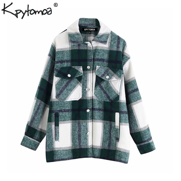 Vintage Stylish Pockets Oversized Plaid Jacket Coat Women 2019 Fashion Lapel Collar Long Sleeve Loose Outerwear Vintage Stylish Pockets Oversized Plaid Jacket Coat Women 2019 Fashion Lapel Collar Long Sleeve Loose Outerwear Chic Tops