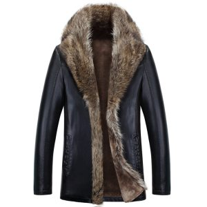 Winter Sheep Leather Men Raccoon Fur Men Long High Quality Solid Color Thickening Velvet Leather Coat Innrech Market.com