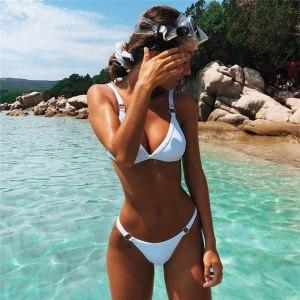 black bikini push up micro brazilian bikini set 2019 sexy swimsuit women solid swimwear high cut Innrech Market.com