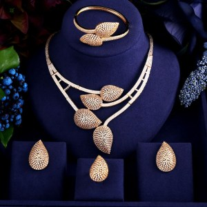 jankelly African 4pcs Bridal Zirconia Jewelry Sets For Women Party Luxury Dubai Nigeria CZ Crystal Wedding Innrech Market.com
