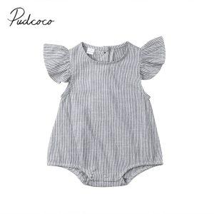 2019 Brand New Newborn Infant Kids Baby Girl Boy Romper Petal Sleeveless Striped Cotton Jumpsuit Playsuit Innrech Market.com