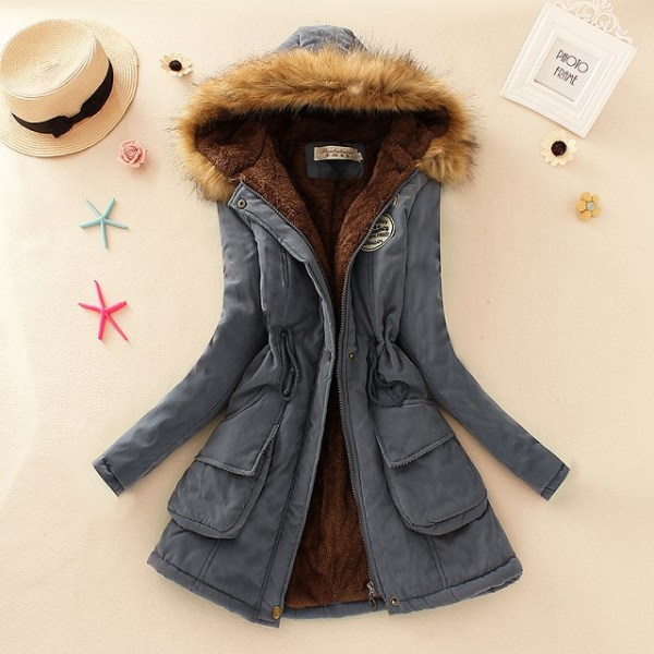 2019 Winter New Women s Hooded Fur Collar Waist And Velvet Thick Warm Long Cotton Coat 2 2019 Winter New Women's Hooded Fur Collar Waist And Velvet Thick Warm Long Cotton Coat Jacket Coat