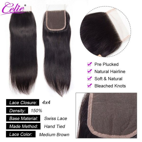 Celie Hair Brazilian Hair Weave Bundles With Closure Straight Hair Bundles With Closure Remy Human Hair 4 Celie Hair Brazilian Hair Weave Bundles With Closure Straight Hair Bundles With Closure Remy Human Hair Bundles With Closure