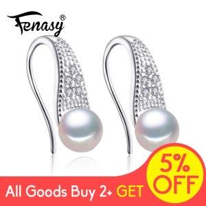FENASY Pearl Jewelry 925 Sterling Silver Cubic Zirconia CZ Classic Freshwater Pearls Stud Earrings For Women Innrech Market.com