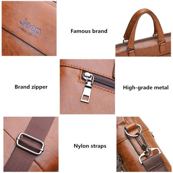 Famous Designer JEEP BULUO Brands Men Business Briefcase PU Leather Shoulder Bags For 13 Inch Laptop 5 Famous Designer JEEP BULUO Brands Men Business Briefcase PU Leather Shoulder Bags For 13 Inch Laptop Bag big Travel Handbag 6013