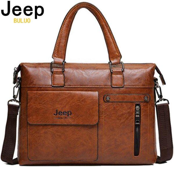 Famous Designer JEEP BULUO Brands Men Business Briefcase PU Leather Shoulder Bags For 13 Inch Laptop Famous Designer JEEP BULUO Brands Men Business Briefcase PU Leather Shoulder Bags For 13 Inch Laptop Bag big Travel Handbag 6013