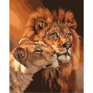 Frameless Lions Family Animals DIY Painting By Numbers Acrylic Picture Modern Wall Art Canvas Painting Unique Innrech Market.com