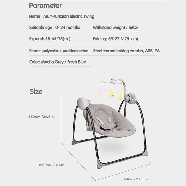 IMBABY Baby Rocking Chair Baby Swing Electric Baby Cradle With Remote Control Cradle Rocking Chair For 2 IMBABY Baby Rocking Chair Baby Swing Electric Baby Cradle With Remote Control Cradle  Rocking Chair For Newborns Swing Chair