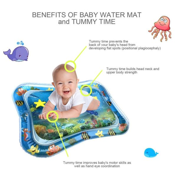 Inflatable Baby Water Mat Infant Tummy Time Playmat Toddler Fun Activity Play Center for Sensory Stimulation 4 Inflatable Baby Water Mat Infant Tummy Time Playmat Toddler Fun Activity Play Center for Sensory Stimulation, Motor Skills