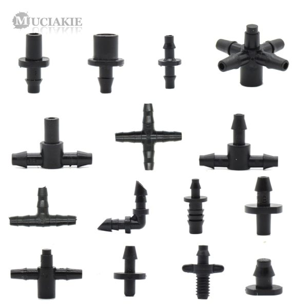 MUCIAKIE Garden Water Connector for 1 4 1 8 Tubing Hose Accessories Joint Adapter Barbed Tees MUCIAKIE Garden Water Connector for 1/4'' 1/8'' Tubing Hose Accessories Joint Adapter Barbed Tees Cross Eng Plug Equal Adaptors