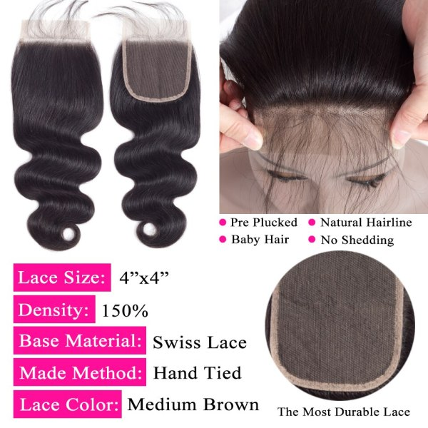 QueenLike Hair Products Brazilian Body Wave With Closure Non Remy Hair Weft Weaving 3 4 Bundles 4 QueenLike Hair Products Brazilian Body Wave With Closure Non Remy Hair Weft Weaving 3 4 Bundles Human Hair Bundles With Closure