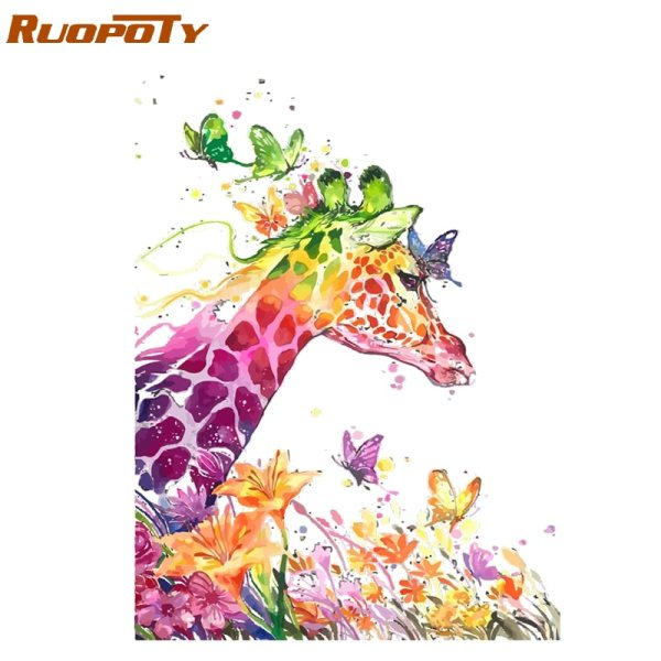 RUOPOTY Frame Cartoon Giraffe DIY Painting By Numbers Animals Modern Wall Art Picture Unique Gift For RUOPOTY Frame Cartoon Giraffe DIY Painting By Numbers Animals Modern Wall Art Picture Unique Gift For Home Decor Artwork 40x50cm