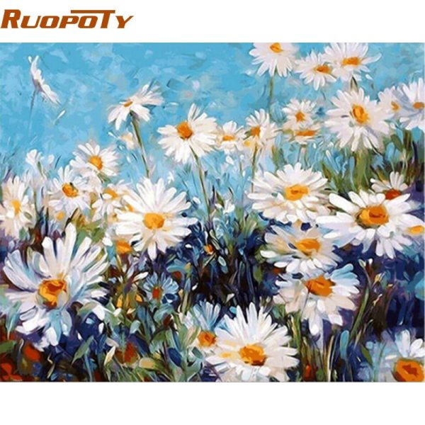 RUOPOTY diy frame White Flower DIY Painting By Numbers Modern Home Wall Art Picture Canvas Painting RUOPOTY diy frame White Flower DIY Painting By Numbers Modern Home Wall Art Picture Canvas Painting Unique Gift For Living Room