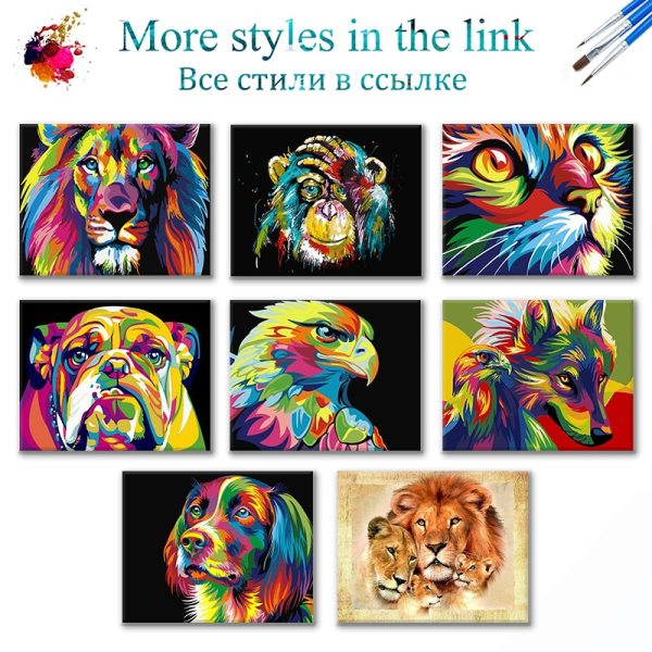 SDOYUNO 60x75cm Frame DIY Painting By Numbers Kits Colorful Lions Animals Hand Painted Oil Paint By 2 SDOYUNO 60x75cm Frame DIY Painting By Numbers Kits Colorful Lions Animals Hand Painted Oil Paint By Numbers For Home Decor Art