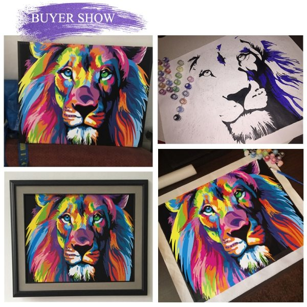 SDOYUNO 60x75cm Frame DIY Painting By Numbers Kits Colorful Lions Animals Hand Painted Oil Paint By 3 SDOYUNO 60x75cm Frame DIY Painting By Numbers Kits Colorful Lions Animals Hand Painted Oil Paint By Numbers For Home Decor Art