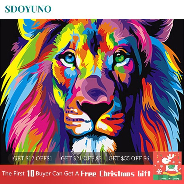 SDOYUNO 60x75cm Frame DIY Painting By Numbers Kits Colorful Lions Animals Hand Painted Oil Paint By SDOYUNO 60x75cm Frame DIY Painting By Numbers Kits Colorful Lions Animals Hand Painted Oil Paint By Numbers For Home Decor Art