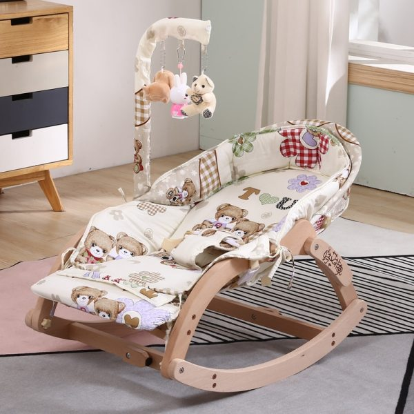 Soothing Chair Rocking Baby Tremble Small Cradle Bed Solid Wood Reclining With Doll To Coax Sleeping Soothing Chair Rocking Baby Tremble Small Cradle Bed Solid Wood Reclining With Doll To Coax Sleeping Artif
