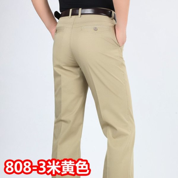 Summer style thin men s casual pants high waist cotton men loose straight long suits pants 2 Summer style thin men's casual pants high waist cotton men loose straight long suits pants middle-aged Business leisure trousers