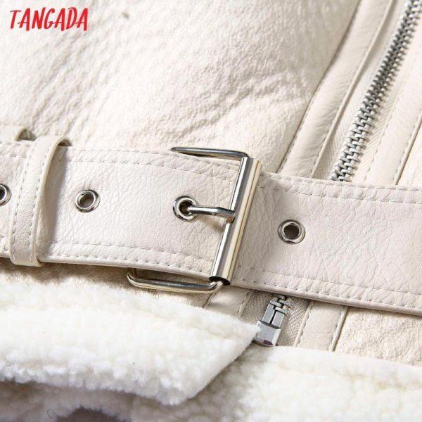 Tangada Women beige fur faux leather jacket coat with belt turn down collar Ladies 2019 Winter 2 Tangada Women beige fur faux leather jacket coat with belt turn down collar Ladies 2019 Winter Thick Warm Oversized Coat 5B01