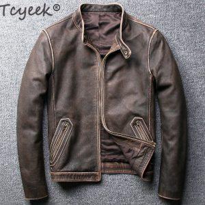 Tcyeek Winter Autumn Genuine Leather Jacket Men Streetweaar Real Sheepskin Coat Man Moto Biker Vintage Cow Innrech Market.com
