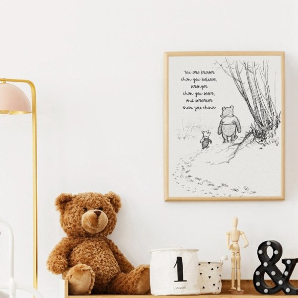 Winnie The Pooh Quotes Canvas Posters and Prints Classic Cartoon Movie Art Painting Black White Picture 4 Winnie The Pooh Quotes Canvas Posters and Prints Classic Cartoon Movie Art Painting Black White Picture Kids Room Wall Art Decor