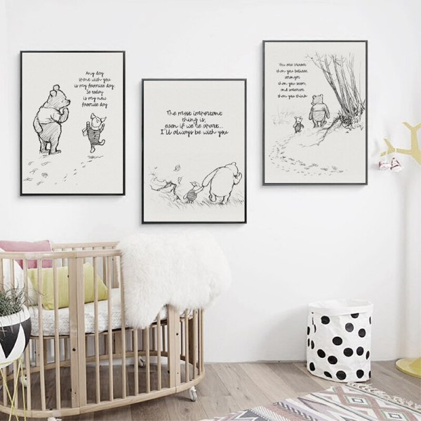Winnie The Pooh Quotes Canvas Posters and Prints Classic Cartoon Movie Art Painting Black White Picture 5 Winnie The Pooh Quotes Canvas Posters and Prints Classic Cartoon Movie Art Painting Black White Picture Kids Room Wall Art Decor