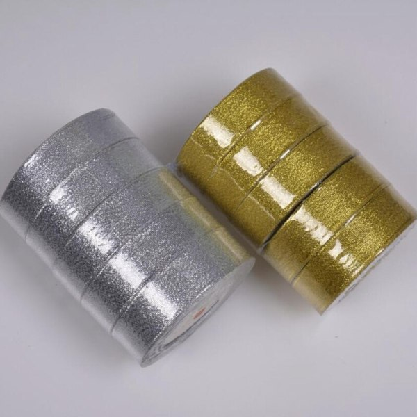 Gold silver ribbon 25 yards 22M metal shiny For wedding party Christmas decoration DIY craft cake 4 Gold silver ribbon 25 yards 22M metal shiny For wedding party Christmas decoration DIY craft cake gift bow packaging ribbon