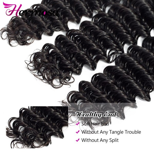Hermosa Brazilian Deep Wave Bundles With Closure Double Weft Non Remy Human Hair Bundles With Closure 3 Hermosa Brazilian Deep Wave Bundles With Closure Double Weft Non-Remy Human Hair Bundles With Closure Natural Black Middle Ratio