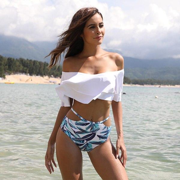 High Waist Swimsuit 2019 Sexy Bikinis Women Swimwear Ruffle Vintage Bandeau Striped Bottom Bikini Set Bathing 4 High Waist Swimsuit 2019 Sexy Bikinis Women Swimwear Ruffle Vintage Bandeau Striped Bottom Bikini Set Bathing Suits