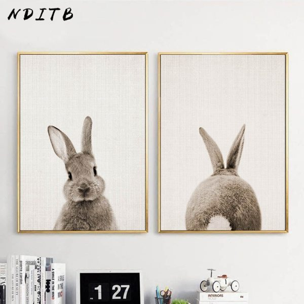NDITB Rabbit Bunny Butt Tail Canvas Art Poster Woodland Baby Animal Nursery Print Painting Wall Picture NDITB Rabbit Bunny Butt Tail Canvas Art Poster Woodland Baby Animal Nursery Print Painting Wall Picture for Living Room Decor