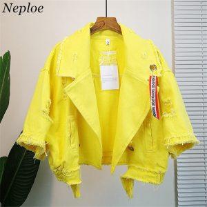 Neploe Pockets Women Denim Jacket Pole Female Loose Coat 2019 Autumn Winter New Cool Girl Outwear Innrech Market.com