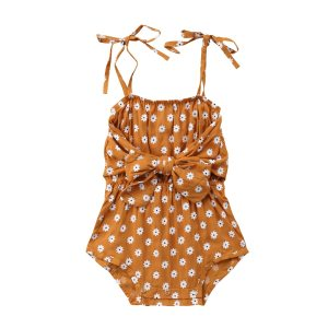 Newborn Baby Girl Strap Bowknot Floral Romper Polka Dot Jumpsuit Outfits Sunsuit Innrech Market.com