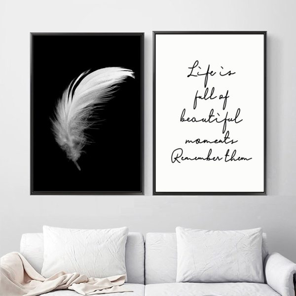Posters And Prints Canvas Feather Quote Painting Wall Art Black White Pictures For Living Room Nordic Posters And Prints Canvas Feather Quote Painting Wall Art Black White Pictures For Living Room Nordic Minimalist Decoration
