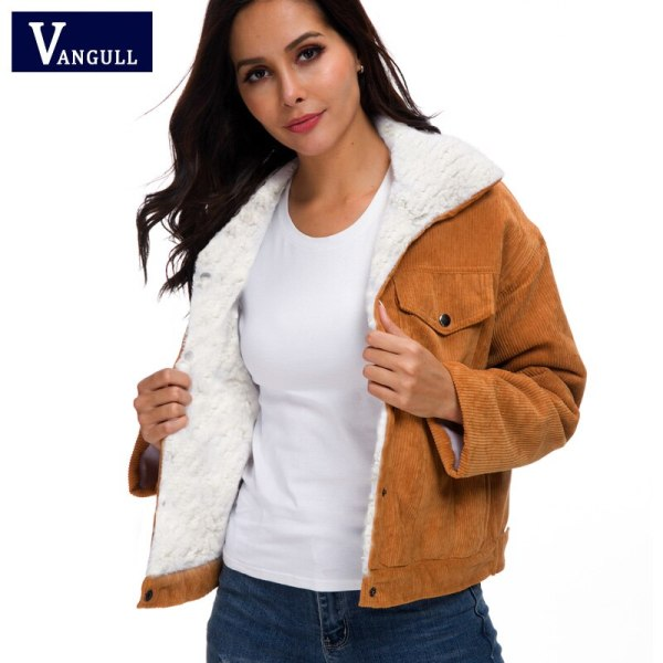 VANGULL Women Winter Jacket Thick Fur Lined Coats Parkas Fashion Faux Fur Lining Corduroy Bomber Jackets VANGULL Women Winter Jacket Thick Fur Lined Coats Parkas Fashion Faux Fur Lining Corduroy Bomber Jackets Cute Outwear 2019 New
