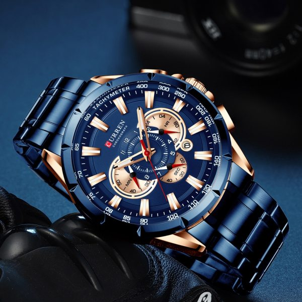 CURREN Wrist Watch Men Waterproof Chronograph Military Army Stainless Steel Male Clock Top Brand Luxury Man 3 CURREN Wrist Watch Men Waterproof Chronograph Military Army Stainless Steel Male Clock Top Brand Luxury Man Sport Watches 8363