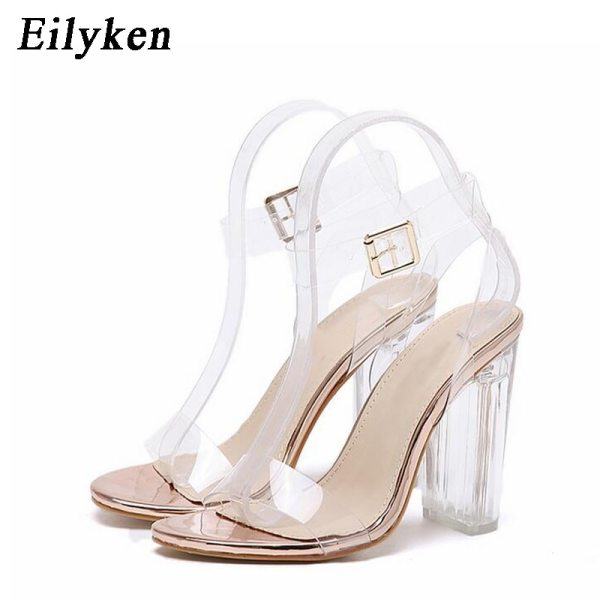 Eilyken 2019 New PVC Women Sandals Sexy Clear Transparent Ankle Strap High Heels Party Sandals Women Eilyken 2019 New PVC Women Sandals Sexy Clear Transparent Ankle Strap High Heels Party Sandals Women Shoes Size 35-42